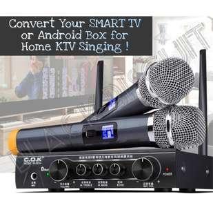 🚚 UHF Wireless Microphone Mixer Karaoke KTV System Receiver w Bluetooth Support