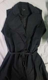 Size Large - Very soft black vest with tie waist detail and pockets