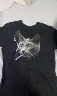 Size Large - Black T-shirt of cat smoking
