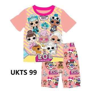 LOL Surprise Pink Short Sleeve Tshirt/Shorts Set for ( 2 to 7  yrs old)