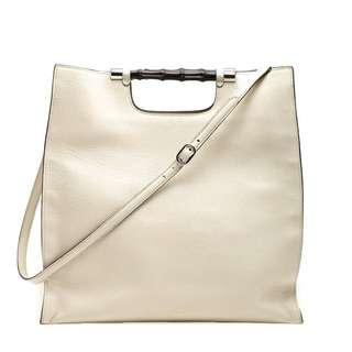 Gucci Bamboo Daily Leather Tote Handbag  (Off-White)