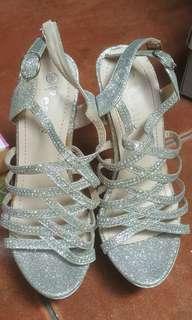 Stilleto Silver Glitters Prom Shoes