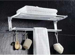 太空鋁打孔毛巾架 浴巾架 雙層可折疊浴室置物架 帶杆帶鉤衛浴毛巾桿 活動浴室廁所衛生間置物架