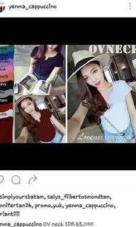 Ovneck tee / tshirt wanita / giant tee / v neck shirt / atasan wanita / maroon tshirt