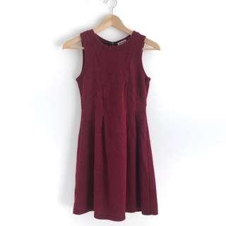 Maroon Basic Knitted Dress