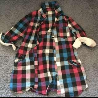 日本 vivi 中袖 格仔褸 外套 上衣 毛毛 薄外套