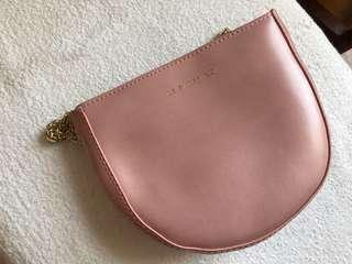 珍珠粉紅鏈袋 pink chain bag