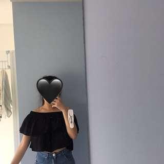 Black off the shoulder crop top