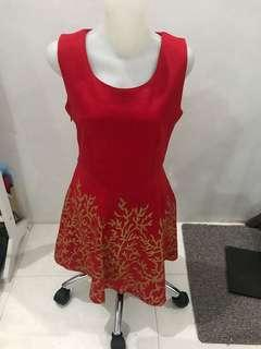 Dress Red Gold | Terusan Merah Emas