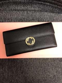 Long Black Wallet with gold buckle
