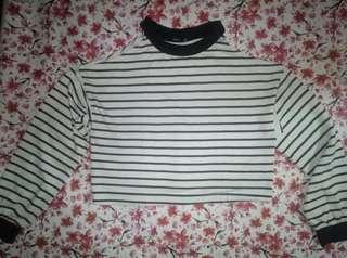crop striped bershka