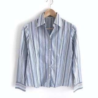 Blue Stripe Women Working Blouse