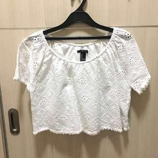 F21 white crop TOP #CNY2019