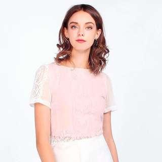 🚚 FAYTH AIMEE LACE TOP (WHITE/PINK, L)