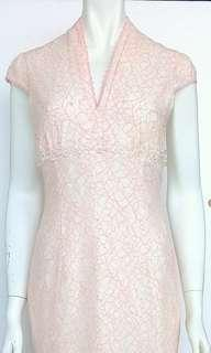 Peach Lace Dress with Crystal Beads #CNYGA