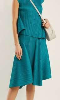 Pleats Please turquoise green asymmetric skirt
