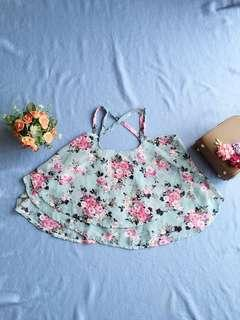 Floral rample blue top