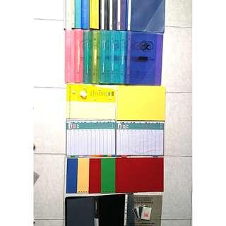 Assorted Files/Coloured Papers/Dividers/Clear Folder (New and Old)