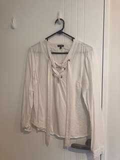 White lace up top Size 10