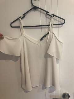 White drop down shoulder top size 10