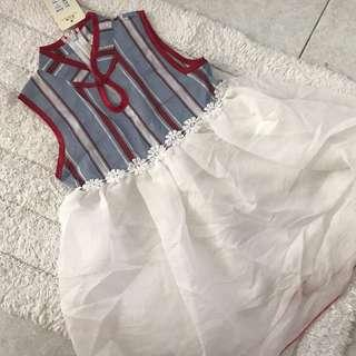 🚚 CNY SPECIAL! BN Toddler Girl Red Striped Cheongsam Tutu Dress 3-4 years! Ready Stock!