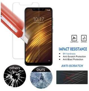 Xiaomi PocoPhone F1 小米Pocophone F1 透明鋼化防爆玻璃 保護貼 9H Hardness HD Clear Tempered Glass Screen Protector (包除塵淸㓗套裝)(Clearing Set Included