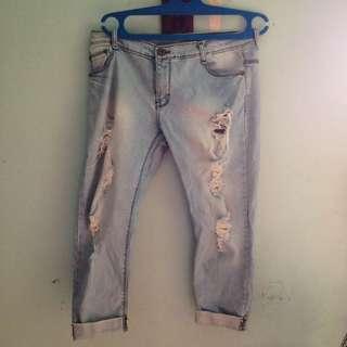#CNY2019 Boyfriend Ripped Jeans Light Blue