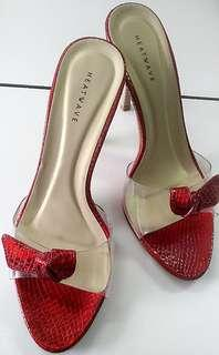 🚚 Heatwave Transparent Red Ribbon heels CNY