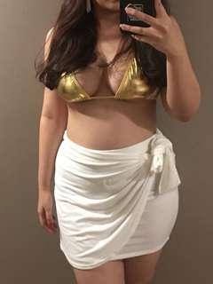 gold bikini top