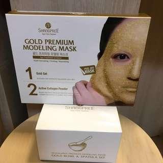 🎊優惠套裝🎊🇰🇷SHANGPREE 黃金水光面膜 GOLD PREMIUM MODELING MASK & Gold bowl set 5片/盒