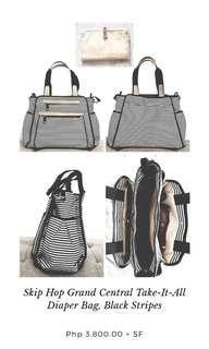 Skip Hop Grand Central Take-It-All Diaper Bag, Black Stripes