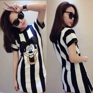 AVAILABLE Casual Mickey Stripes Dress