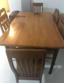 🚚 Wooden Dining Set (6 seater)