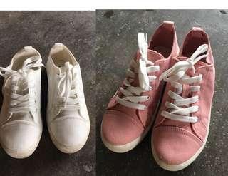 🚚 Shoopen粉色&白色帆布