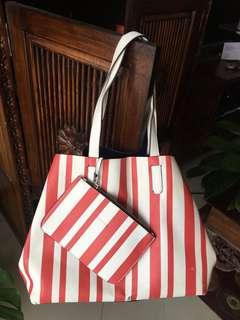 Wide Stripped Faux Leather Open Bag