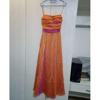 Pink and orange prom gown with accessories