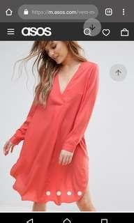 🚚 ASOS Vero Moda Oversize V Neck Dress in Living Coral (fits S M L sizes)