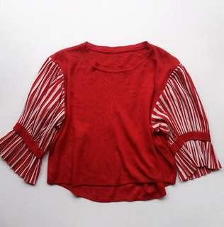 Red flat knit boxy top with crepe stripes sleeves