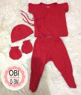 OBI baby newborn set tieside shirt pajama pants with footies beanie mittens for baby boy baby girl