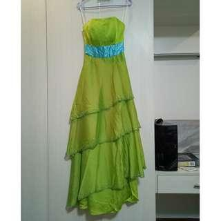 Apple green and sky blue prom gown