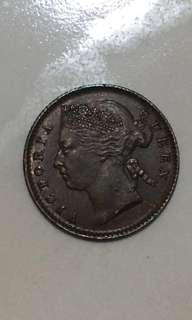 1901 quarter cents Straits Settlements copper coins