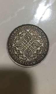 1907H $1 Straits Settlements coins