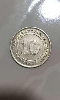 1896 10cents Settlements coins