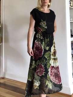 Black floral chiffon maxi dress size 8