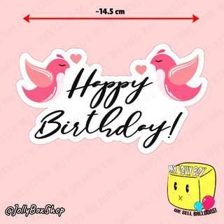 🚚 Love Birds Theme Cake Toppers with Text  Happy Birthday   #customizable #birthdaycakedeco #partyydeco