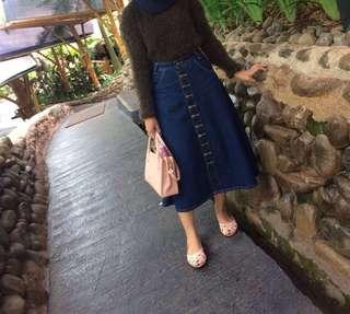 Skirt Jeans Button