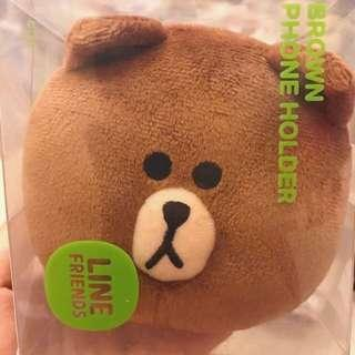 熊大毛絨公仔電話座 LINE FRIENDS BROWN PHONE HOLDER