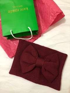 Kate spade burgundy bow neck warmer scarf
