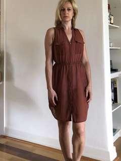 Burgundy/rust sheer shirt dress size 8