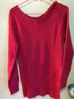 紅色冷衫 粉紅色 閃閃 女裝 新年 上衣 女朋友 日韓時裝